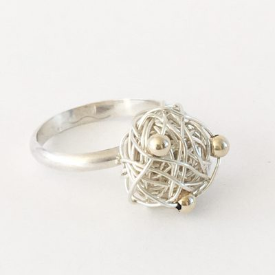 Silverthread Drop Ring with Gold Beads